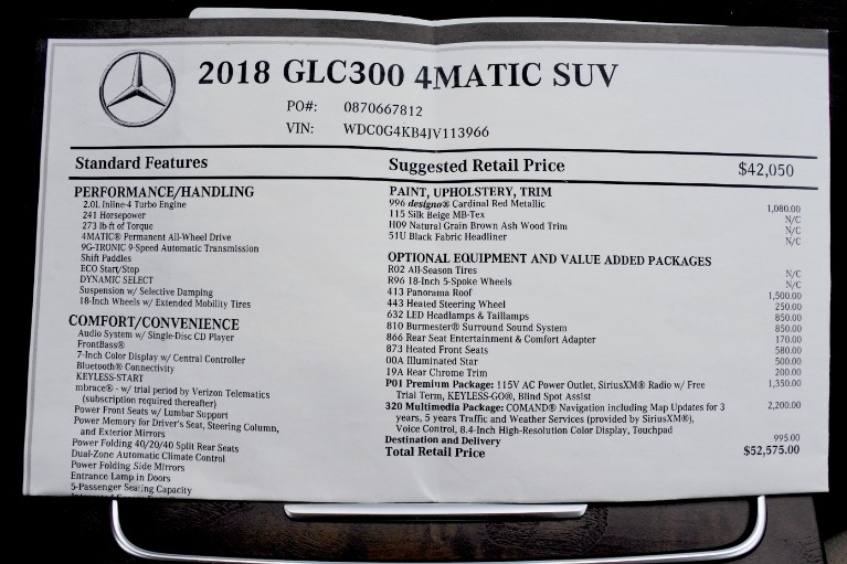 Used 2018 Mercedes-Benz Glc GLC300 4MATIC Used 2018 Mercedes-Benz Glc GLC300 4MATIC for sale  at Metro West Motorcars LLC in Shrewsbury MA 23