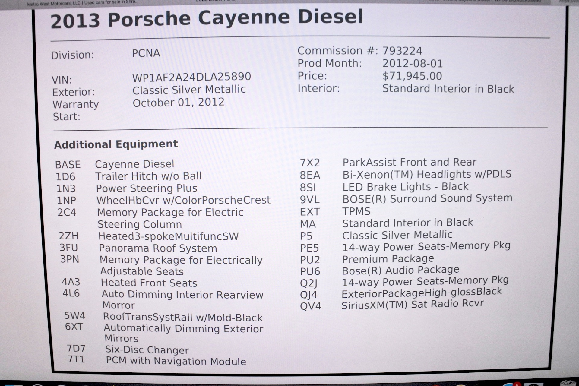 Used 2013 Porsche Cayenne Diesel AWD Used 2013 Porsche Cayenne Diesel AWD for sale  at Metro West Motorcars LLC in Shrewsbury MA 25