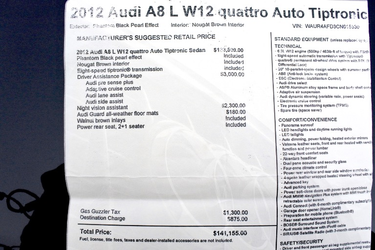 Used 2012 Audi A8 l W12 Quattro Used 2012 Audi A8 l W12 Quattro for sale  at Metro West Motorcars LLC in Shrewsbury MA 27