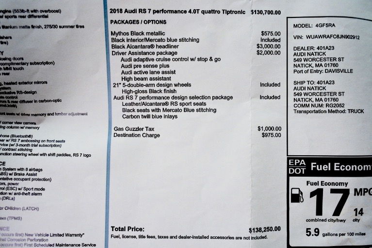 Used 2018 Audi Rs 7 4.0 TFSI performance Used 2018 Audi Rs 7 4.0 TFSI performance for sale  at Metro West Motorcars LLC in Shrewsbury MA 21