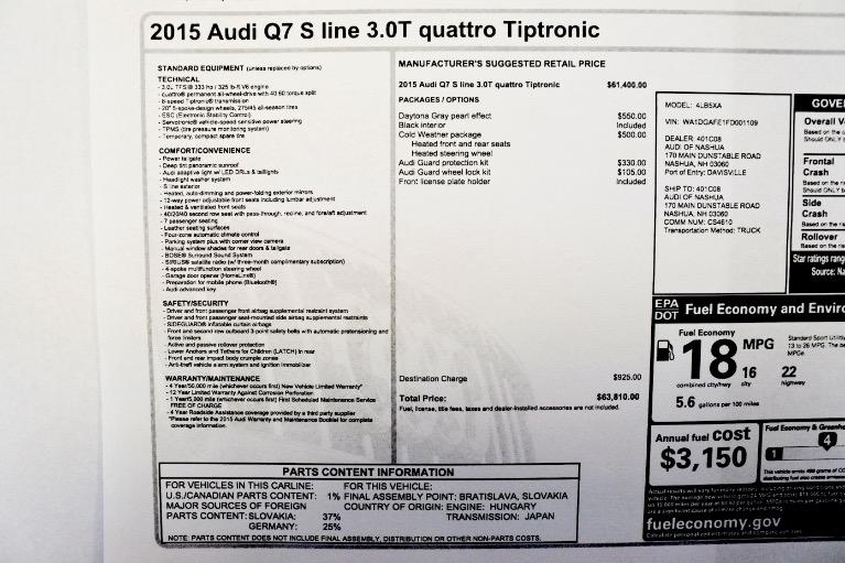 Used 2015 Audi Q7 3.0T S line Prestige Quattro Used 2015 Audi Q7 3.0T S line Prestige Quattro for sale  at Metro West Motorcars LLC in Shrewsbury MA 25