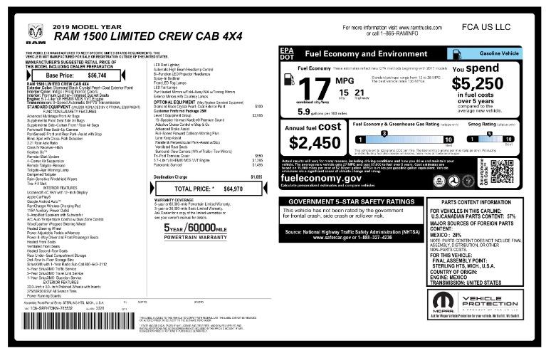 Used 2019 Ram 1500 Limited 4x4 Crew Cab 5''7' Box Used 2019 Ram 1500 Limited 4x4 Crew Cab 5''7' Box for sale  at Metro West Motorcars LLC in Shrewsbury MA 23